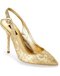 Dolce & Gabbana Metallic Jacquard Slingback Pumps - Lyst