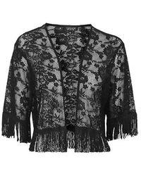 Topshop Cropped Lace Fringe Kimono - Lyst