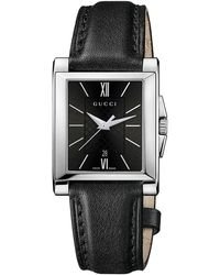 Gucci Stainless Steel Watch with Black Diamante Dial - Lyst
