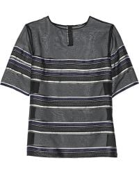 Adam Lippes Embroidered Silktwill and Organza Top - Lyst