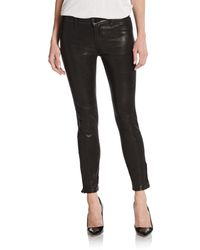 J Brand Mid Rise Leather Skinny Pants - Lyst
