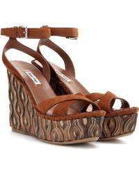 Miu Miu   Suede Platform Wedge Sandals   Lyst