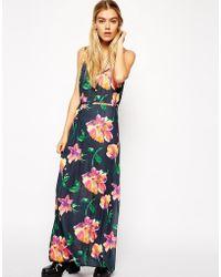 Asos Reclaimed Vintage Maxi Dress in Bright Rose Print - Lyst