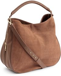 H&M Hobo Bag With Suede Details - Brown