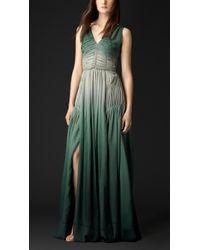 Burberry Silk Crepon Long Dress - Lyst