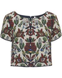 Topshop Womens Tapestry Embellished Crop Tee  Cream - Lyst