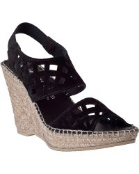 Andre Assous Denise Wedge Espadrille Black Suede - Lyst