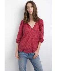 Velvet By Graham & Spencer Ladey Sangria Print Cotton Voile Popover red - Lyst