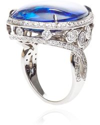 Gioia Pear Shape Black Opal Ring - Blue