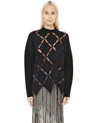 Proenza Schouler Argyle Cutout Wool Blend Sweater - Lyst