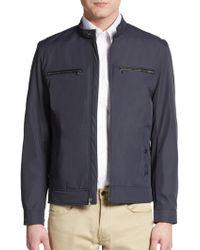 MICHAEL Michael Kors Leather-trim Zip-front Jacket - Blue