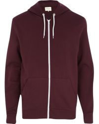 River Island Dark Red Zip Through Hoodie - Lyst