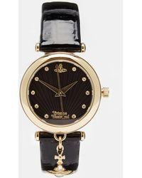 Vivienne Westwood Time Machine Black Charm Watch Vv108bkbk - Lyst