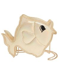 Nila Anthony - 'fish' Metallic Faux Leather Crossbody Bag - Metallic - Lyst