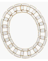 Rachel Zoe Women'S 'Eloise' Leather Link Collar Necklace - White/ Gold - Lyst