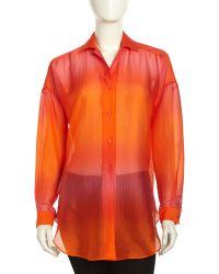 Lafayette 148 New York Ombre Silk Chiffon Blouse - Lyst