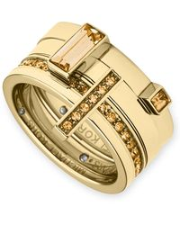 Michael Kors Gold-tone Crystal Stackable Ring Set - Lyst