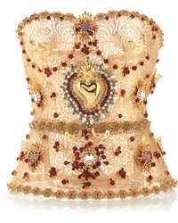 Dolce & Gabbana Golden Filigree Bustier with Allover Embellishment - Lyst