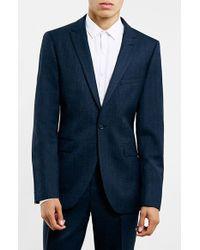 TOPMAN Navy Textured Wool Blend Slim Fit Suit Jacket - Blue
