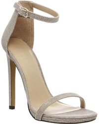 Office Parallel Square Toe Strap Sandal gold - Lyst
