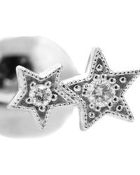 Stone - Stardust Button 18kt White Gold And Diamond Earring - Lyst