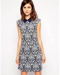 Oasis Rose Jacquard Dress - Lyst