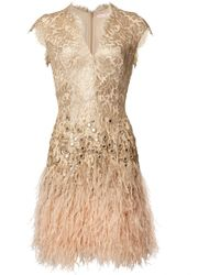 Matthew Williamson | Gold Lacquer Lace Feather Dress | Lyst