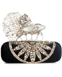 Alexander McQueen Crystal Punk Fish Satin Long Knuckle Box Clutch silver - Lyst