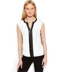 Calvin Klein Sleeveless Faux-Leather-Trim Top - Lyst