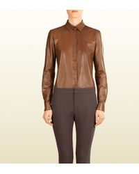 Gucci Leather Button-down Shirt - Lyst