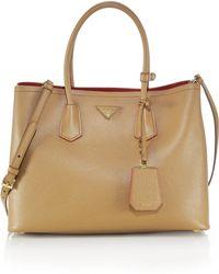 Prada Saffiano Cuir Medium Double Bag - Lyst