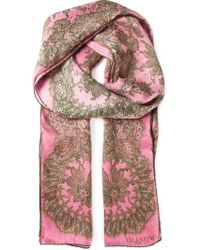 Valentino Floral Lace Print Scarf - Lyst