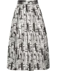 Lulu & Co Metallic Jacquard Midi Skirt - Lyst