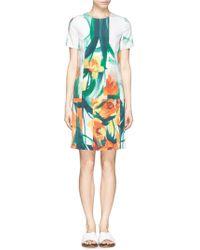 St. John Floral Print Silk Blend Crepe Dress multicolor - Lyst