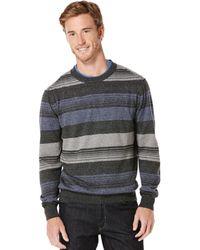 Perry Ellis Long Sleeve Stripe Sweater - Lyst