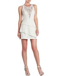 BCBGMAXAZRIA Hanah Lace Asymmetrical Tiered Dress - Lyst