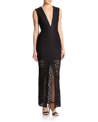 Nicholas Sheer-Skirt Lace Deep V-Neck Gown - Lyst