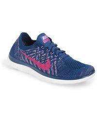 Nike 'Free 4.0 Flyknit' Running Shoe - Blue