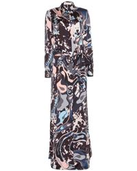 Emilio Pucci Printed Silk Floor-Length Dress - Lyst