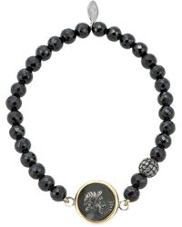 1884 Collection - 1884 - 'amelia' 18k Yellow Gold And Faceted Black Spinel Pave Diamond Bead Bracelet W/ 1 Small Ottaviano Coin - Lyst