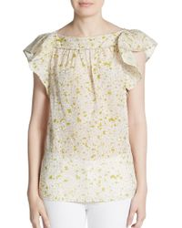 RED Valentino Floral Print Cotton  Silk Top - Lyst