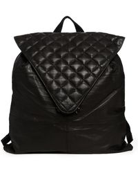 Asos Leather Backpack with Quilted Flap - Lyst