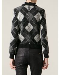 Saint Laurent Argyle Pattern Sweater - Lyst