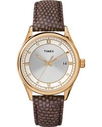 Timex® Women'S Originals Mocha Lizard-Pattern Leather Strap Watch 37Mm T2P558Ab - Lyst
