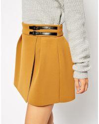 Asos Premium Kilt Skirt in Bonded Scuba - Lyst