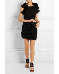 Isabel Marant Geeny Ruffled Cotton-Gauze Mini Dress - Black