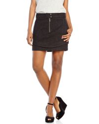 Andrew Marc Charcoal Lainy Wool Skirt - Gray