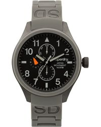 Superdry Men'S Scuba Gray Silicone Strap Watch 43Mm Iww-D10310087 - Lyst