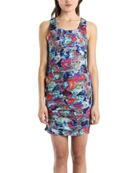 Suno Shirred Sleeveless Multi-Colored Dress blue - Lyst
