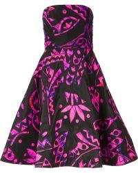 Oscar de la Renta Tribal Strapless Dress - Lyst